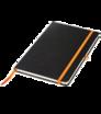 Zápisník A5 s tvrdými deskami a gumičkou - černá vazba