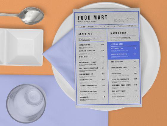 Jídelní a nápojové lístky online tisk 1