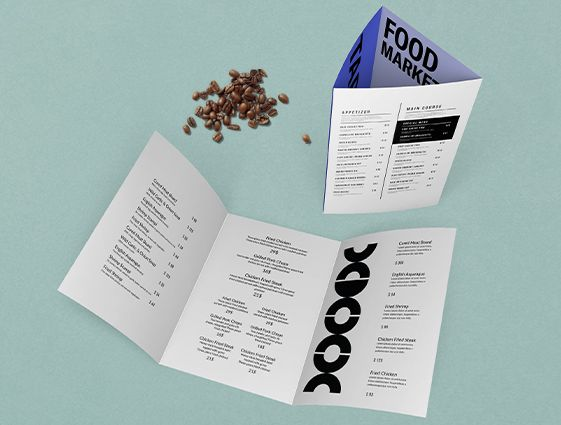 Jídelní a nápojové lístky - skládané online tisk 2